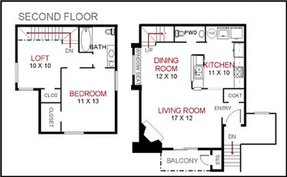 1,000 sq. ft. to 1,015 sq. ft. F1-2 floor plan