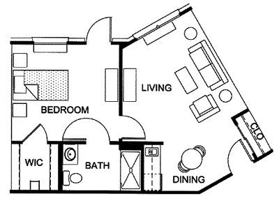 538 sq. ft. floor plan