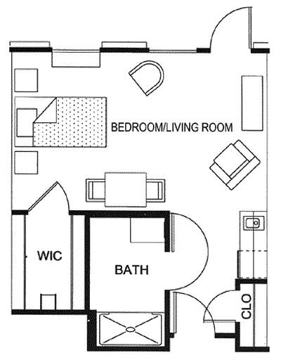 404 sq. ft. floor plan