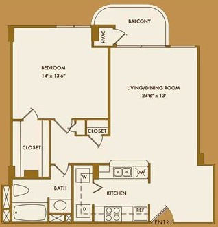 794 sq. ft. B floor plan