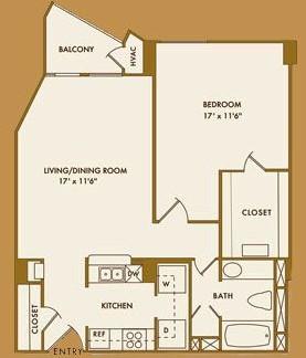 707 sq. ft. D floor plan