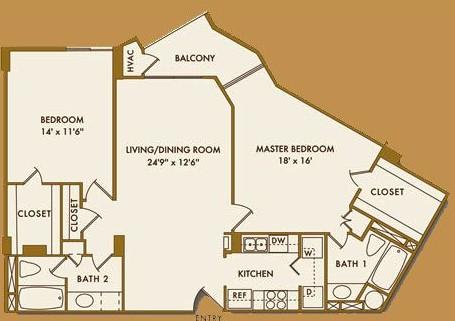 1,221 sq. ft. E floor plan