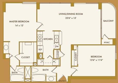 1,091 sq. ft. F floor plan