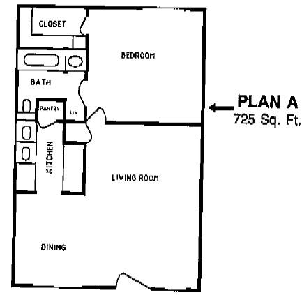 725 sq. ft. SUNFLOWER floor plan