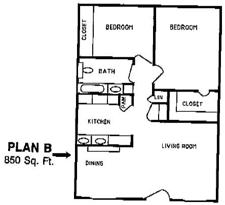850 sq. ft. DAISY I floor plan
