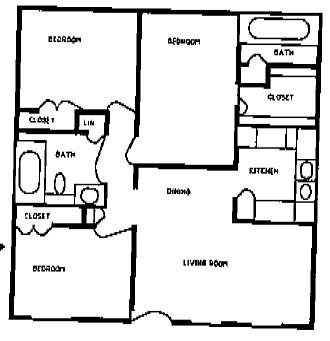 1,105 sq. ft. BLUE BONNETT floor plan