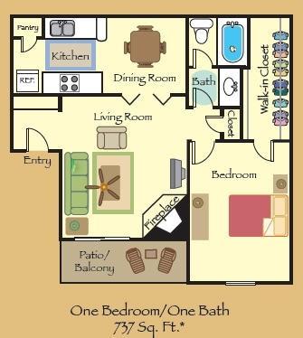 737 sq. ft. A1 floor plan