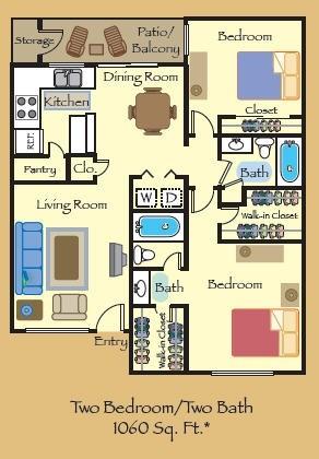 1,060 sq. ft. B2 floor plan