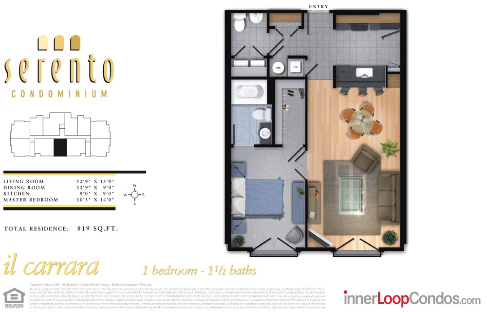 819 sq. ft. il lucca floor plan