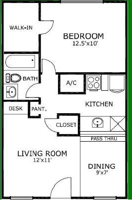 585 sq. ft. floor plan