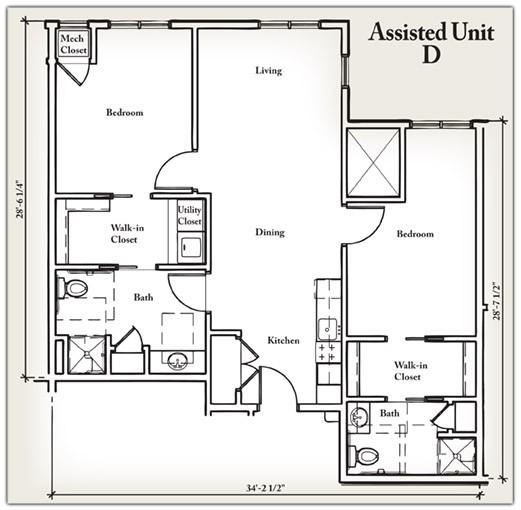 944 sq. ft. D floor plan