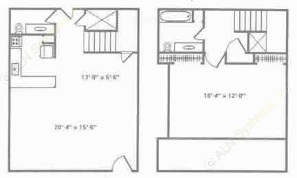 1,200 sq. ft. B3 floor plan