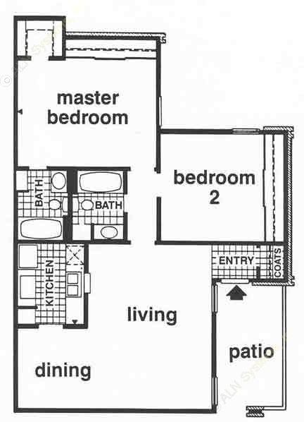 975 sq. ft. B2/ABP floor plan