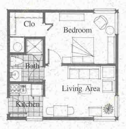 412 sq. ft. floor plan