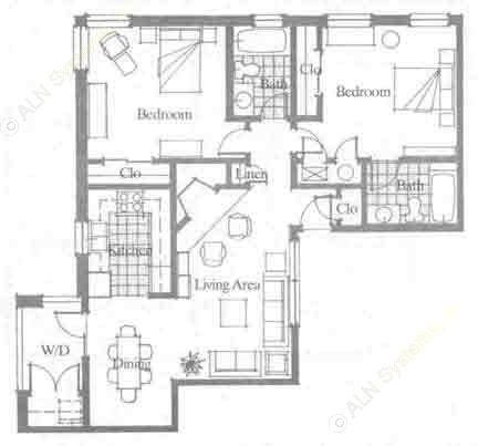 1,075 sq. ft. floor plan