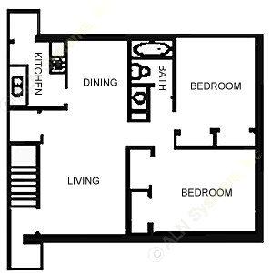 864 sq. ft. floor plan