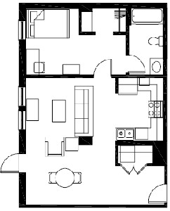 648 sq. ft. to 685 sq. ft. A3 floor plan