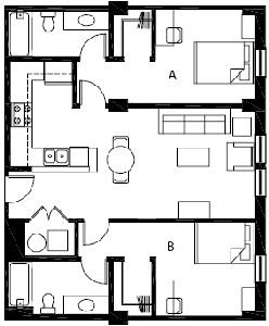 875 sq. ft. to 934 sq. ft. B3 floor plan