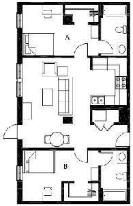 902 sq. ft. B2 floor plan