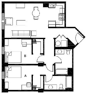 967 sq. ft. B4 floor plan