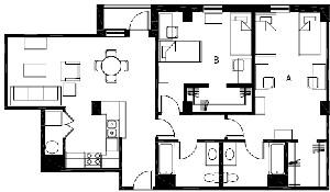 1,154 sq. ft. to 1,228 sq. ft. B7 floor plan