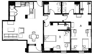1,176 sq. ft. to 1,180 sq. ft. B9 floor plan
