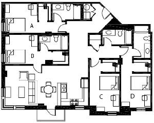 1,628 sq. ft. D3 floor plan