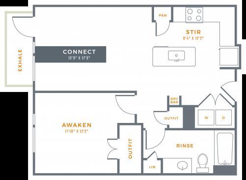 753 sq. ft. A2 floor plan