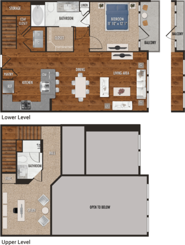 1,194 sq. ft. A8-M floor plan