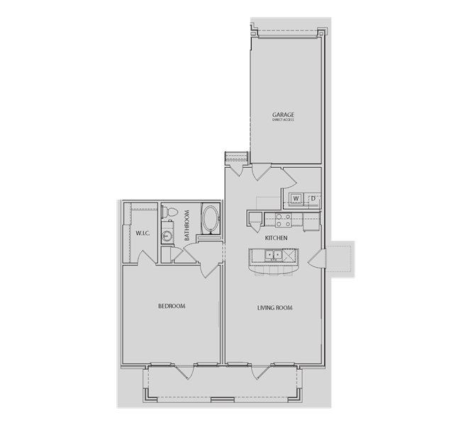933 sq. ft. AA5-G floor plan