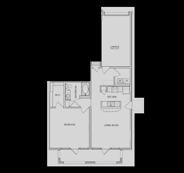 933 sq. ft. AA5-G floor plan