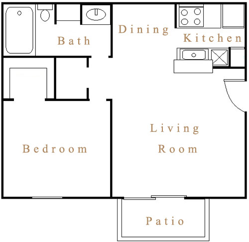550 sq. ft. A3 floor plan