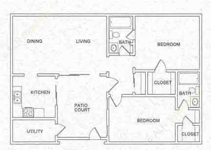 1,150 sq. ft. B5 floor plan