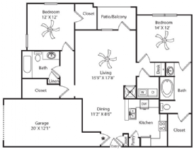 1,324 sq. ft. Garage floor plan
