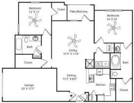 1,324 sq. ft. Garage floor plan
