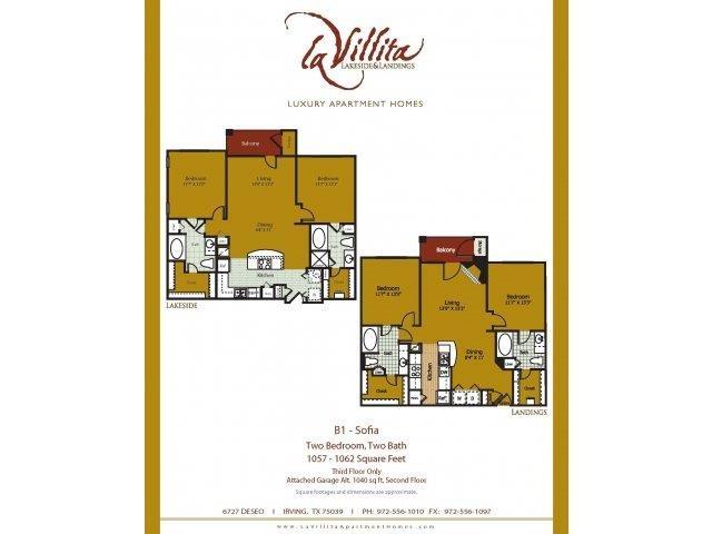 1,018 sq. ft. to 1,062 sq. ft. Sofia floor plan