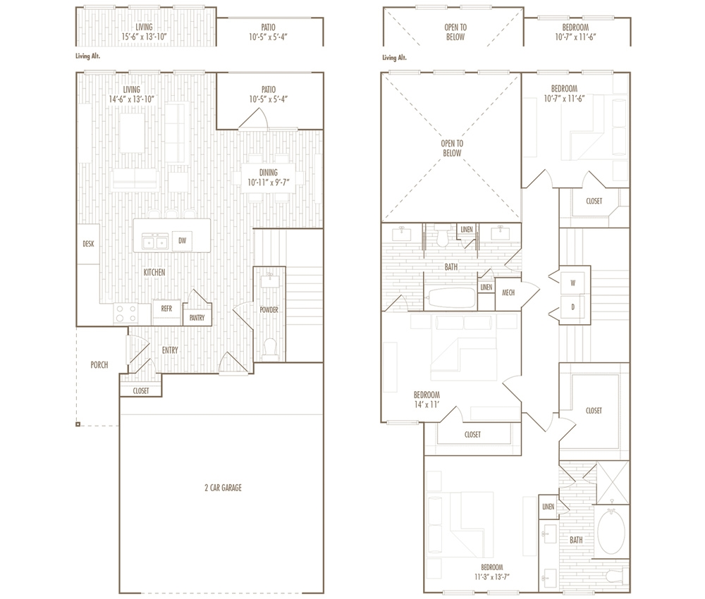1,700 sq. ft. TH floor plan
