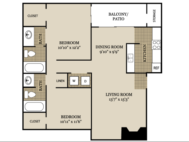 941 sq. ft. B1 floor plan