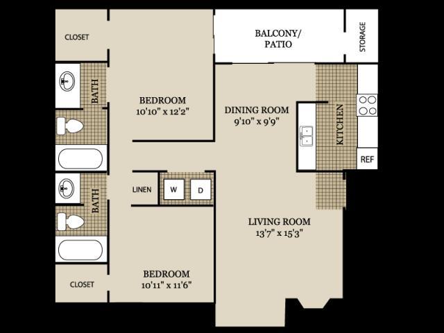 941 sq. ft. B1 floor plan