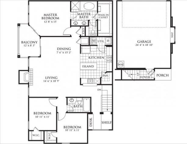 1,597 sq. ft. Wadsworth floor plan
