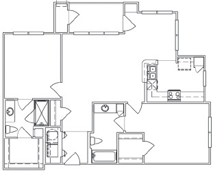 763 sq. ft. A3 floor plan