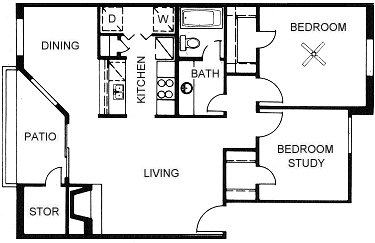 820 sq. ft. B1 floor plan