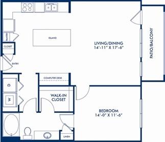 906 sq. ft. Milliken floor plan