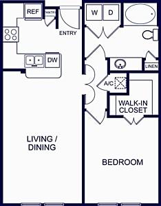 746 sq. ft. Barcelona 1 floor plan