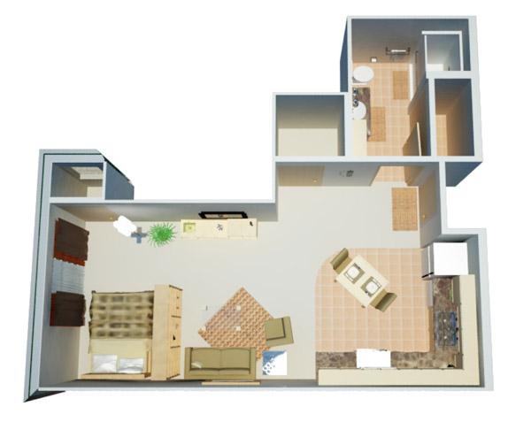 566 sq. ft. Studio floor plan