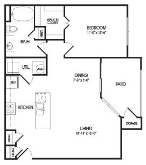 899 sq. ft. Alexander floor plan