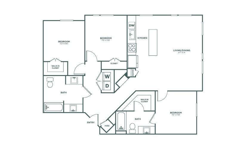 1,308 sq. ft. C1HC floor plan
