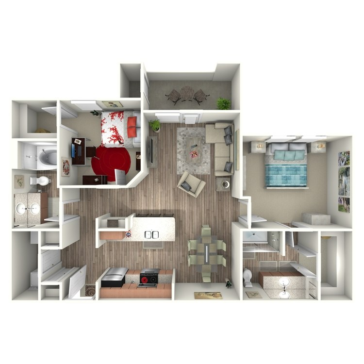 1,005 sq. ft. B1 floor plan
