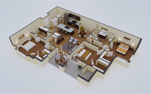 1,394 sq. ft. C1 floor plan