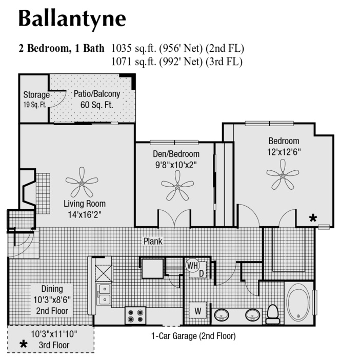 956 sq. ft. to 1,035 sq. ft. F floor plan